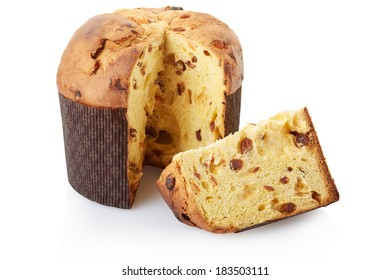 Panettone, Christmas cake isolated on white, clipping path included