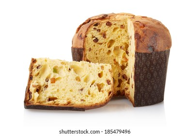 Panettone, italian Christmas cake isolated on white, clipping path included
