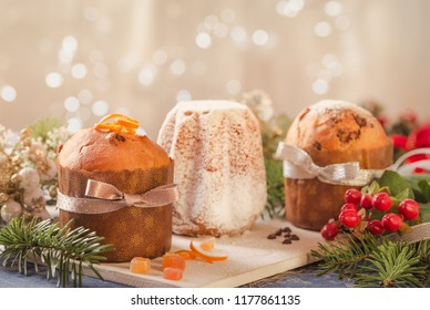 Panettone and pandoro traditional italian christmas cake.