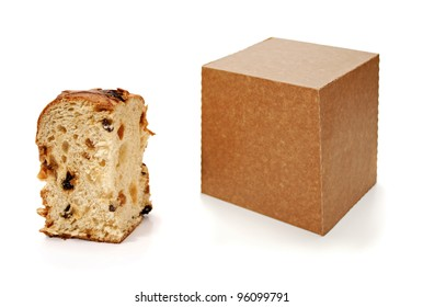 Panettone slice and package on white background