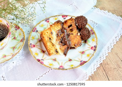 Panettone Slice. Traditional Italian dessert for Christmas with a Cup of Coffee