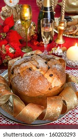 Panettone, traditional Italian cake with christmas decorations