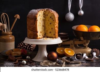 Panettone. Traditional Italian Christmas cake with orange, candied fruit, raisins and cinnamon.
