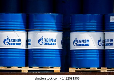 Panevezys/Lithuania June 11, 2019  Gazprom oil barrel. Gazprom is a large Russian company founded in 1989, which carries on the business of extraction, production, transport, and sale of natural gas.