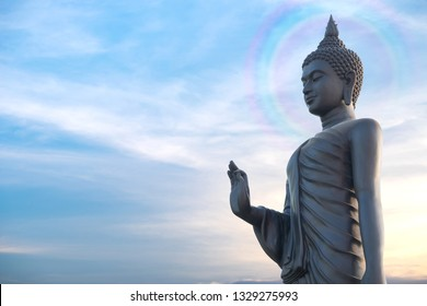 Pang Buddha Image Style Thai Buddha with divine aura Statue Visakha Bucha day is the most important Buddhist holiday