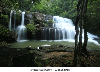 Pang Sida National Park is a popular destination for it's waterfalls. Beautiful waterfall in deep forest in the eastern Thai province of Sa Kaeo. Life safety rubber ring in front of waterfall.