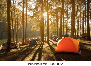 Pang Tong National park at Mae Hong Son province in Thailand with pine trees and lake in mountain, great place for camping
