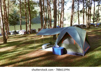Pang Tong Under Royal Forest Park ( Pang ung ) at Mae Hong Son Province,Thailand. Pang Ung is a popular place to stay in a camping in the winter.