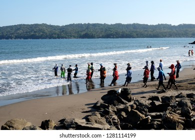 Pangandaran Beach, West Java / Indonesia - November 16 2018 : Jaring Arad, a traditional beach trawl to catch fish from Pangandaran Beach,  West Java, Indonesia.