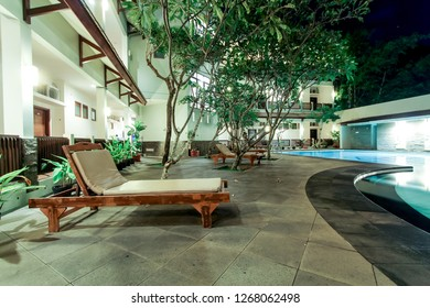Pangandaran, West Java/Indonesia - 19th March 2014: Sunbed or Sun Lounger on the Pool Side