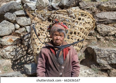 PANGBOCHE, KHUMBU REGION, NEPAL - May 6, 2017: Portrait of old Nepali Sherpa woman with handmade basket on a sunny day in Pangboche, Sagamartha national park, Khumbu region, Himalaya, Nepal