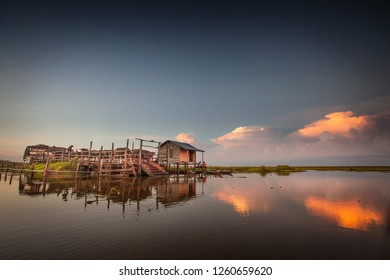 panggang lake, south kalimantan, indonesia - mei 22, 2018 : buffalo swamp farm in the panggang lake of south Kalimantan, Indonesia.