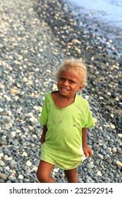 PANGI,VANUATU-OCTOBER 13, 2014: Native vanuatu have a genetic mutation that makes many of them are black with blonde hair like this child  on October 13, in Pentecostes-Vanuatu.
