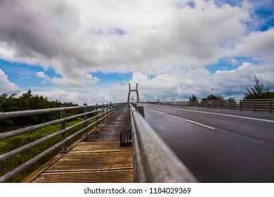 Pangkal Pinang, Bangka, Indonesia (05/28/2018) : Emas bridge, a new icon in Pangkal Pinang City that connected Pangkal Pinang City and Bangka Regency in Bangka Belitung Province.