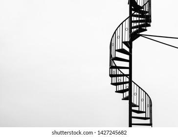 Pangkalpinang City, Bangka Island - October 3, 2018 : Minimalis stairs in black and white.