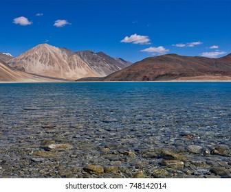 Pangong lake clear water, India