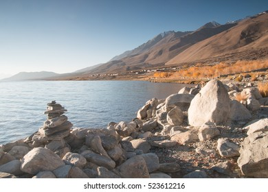 Pangong lake in early morning , Leh ladakh in autumn.