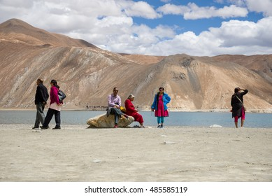 Pangong Lake. India,  August 24-2016: Spectacular Pangong Lake with mountain in Ladakh, India. The lake's water level is at 4241m/13915 ft.