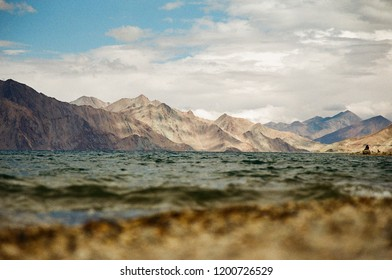 Pangong Lake in Ladakh, North India. The highest lake in Ladakh with altitude 4,350 m. above sea level. Taken by Film Camera