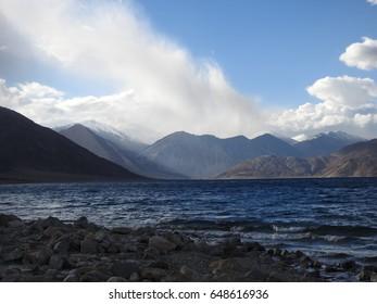 pangong tso - lake between india and china in the himalayas