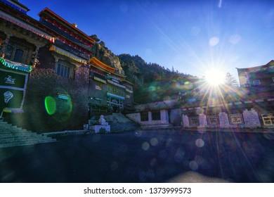 Pangpu temple with White Pagoda, the way to Yading Natural Reserve, Daocheng - China