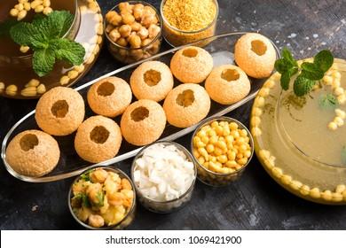 Pani Puri OR Golgappa is a popular Indian Chat menu, selective focus