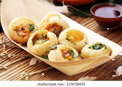 Pani Puri indian street food. Golgappe, Chat item, India