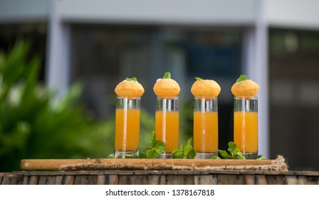 Pani Puri Shots : (a.k.a. golgappa shots or gol gappe shots) are a versatile snack invented in India made of stuffed pani puri (golgappa) placed on top of liquid-filled shot glasses.
