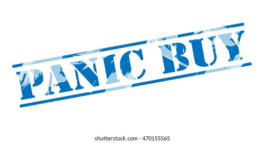 panic buy blue stamp on white background
