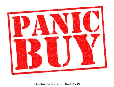 PANIC BUY red Rubber Stamp over a white background.
