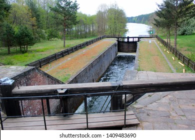 Paniewo Lock, the ninth lock and the only twin-chamber lock on the Augustow Canal in Poland. Built in 1828.