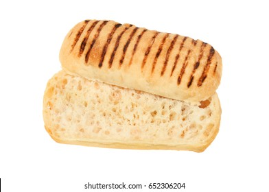 Panini bread roll sliced in half isolated against white
