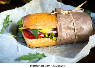Panini sandwich packed in the paper,selective focus