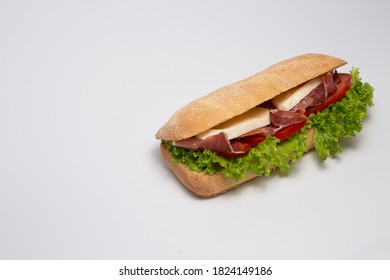 Panini with stuffing on a white background