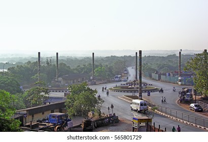Panjim, Goa, India - January 24, 2017: Divja traffic circle in Panjim, Goa, is main entry point to Panjim city. It features nine Breda Pillars and Divja sculptures that depict life and culture of Goa.