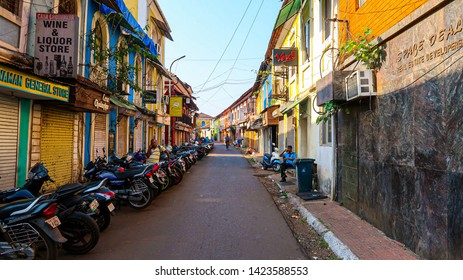 PANJIM, GOA, INDIA-07 MARCH 2019: Morning street view of the Panjim city, people and ancient architecture, no chaos or traffic jam in Panjim city.