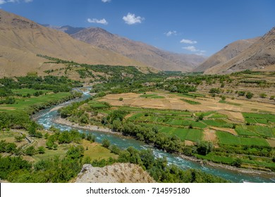 Panjshir valley in Eastern Afghanistan, beautiful nature in Afghanistan landscapes with old soviet tanks