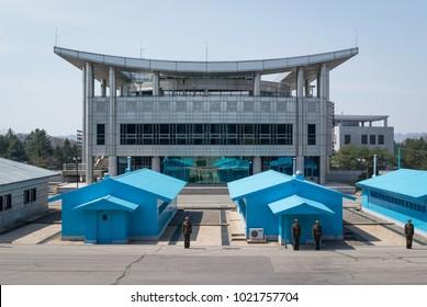 Panmunjeom, Korea, 2013 04 19: Panmunjeom DMZ demilitarized Korean border