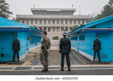 PANMUNJEON, SOUTH KOREA - APRIL 9: South Korean soldiers stand guard at the Demilitarized Zone on the North Korean border on April 9, 2016 in Panmunjeon, South Korea.