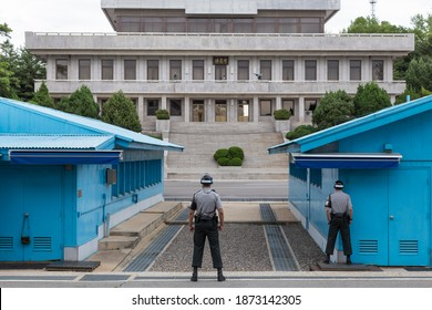 Panmunjom, South Korea - 07 09 15: Elite ROK soldiers stand guard   facing North Korea at the Military Demarcation Line in Panmunjom in the Korean Joint Security Area or JSA