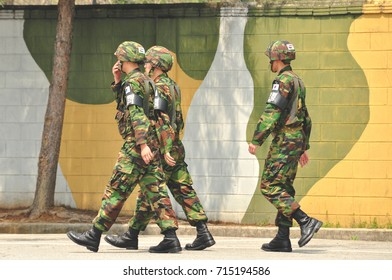 PANMUNJOM, SOUTH KOREA - MAY 7 2011: ROK soldiers in the DMZ