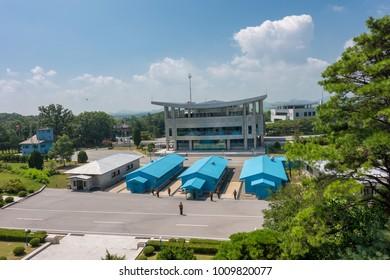 Panmunjom,North Korea-August 12,2016:Village Panmunjom, border between North and South Korea. View from North Korea (DPRK).