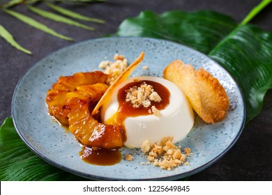 Panna cotta with caramelised pineapple and coconut biscuit