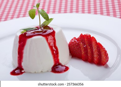 Panna cotta dessert with strawberry