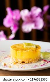 Panna cotta fusion cake with sour mango and lemon