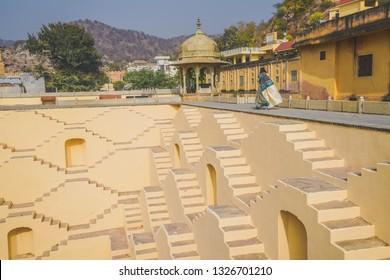 Panna Meena ka Kund  step-well near Amber Fort, Jaipur, Rajasthan - India