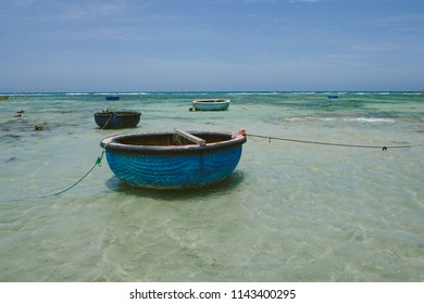 pannier boats in a sea background with blue sky shot at Ninh Thuan, Vietnam