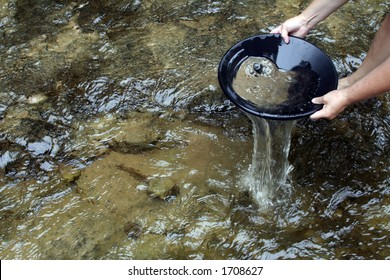 Panning for gold in a northern michigan stream