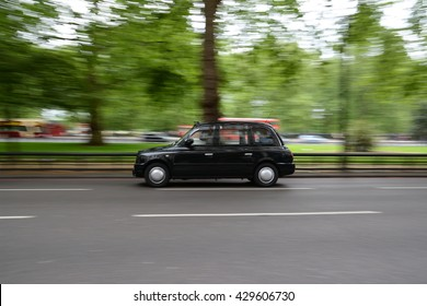 Panning shot of London taxi taken on the streets of London.