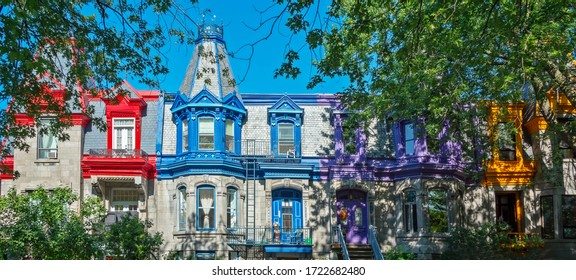 Pannorama of colorful Victorian houses in Le plateau Mont Royal borough in Montreal, Quebec